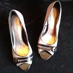 Lelly&Katie fabric/black patent leather pumps-sz 9
